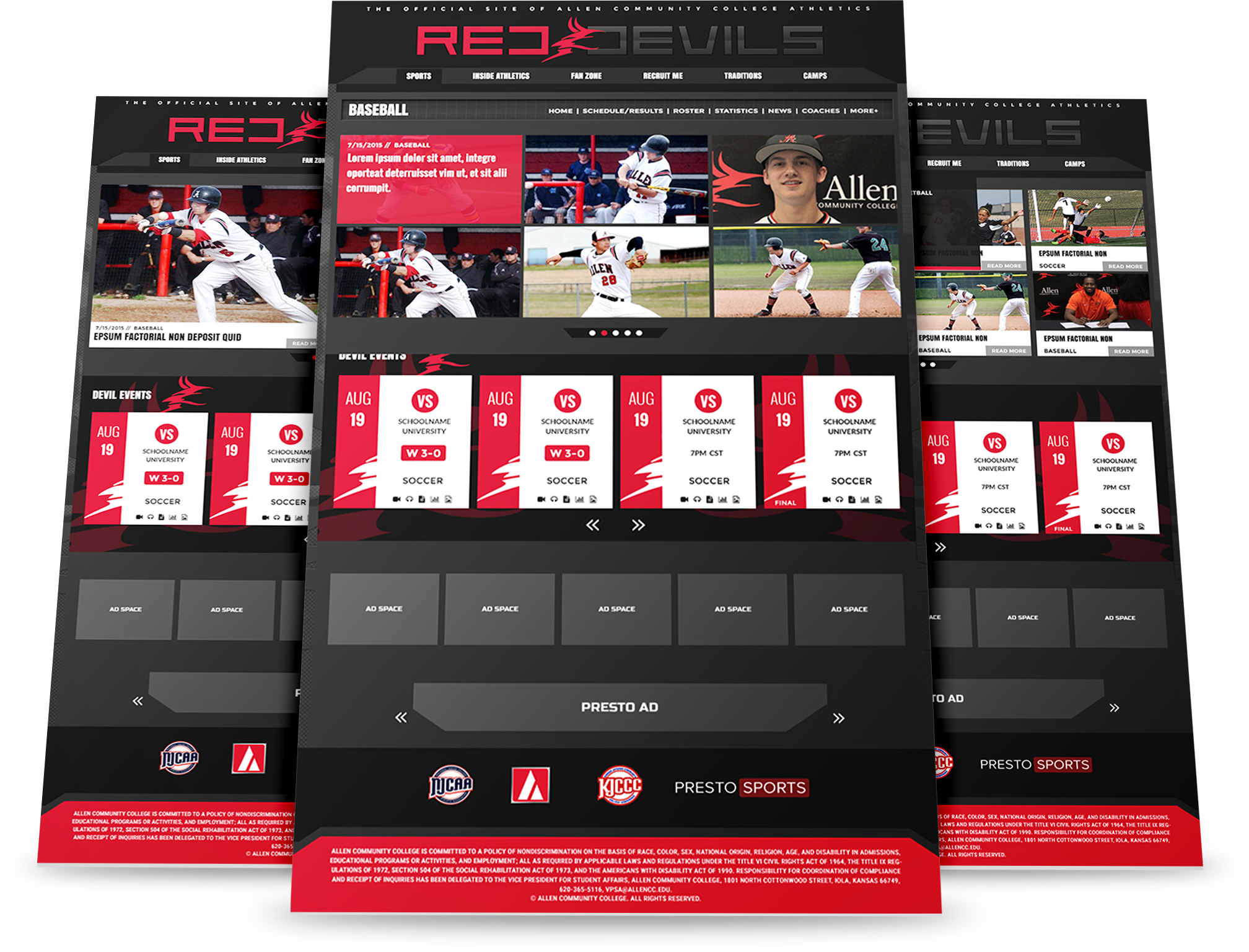 Mullican Creative Designs and Development - Allen Community College Red Devils Athletics Department Website Design - Red Devils Web Design Mockup